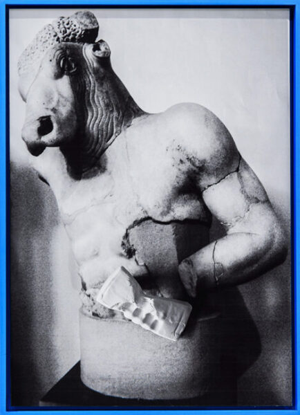 ancient greek statue in a blue frame by artist Stefano Conti
