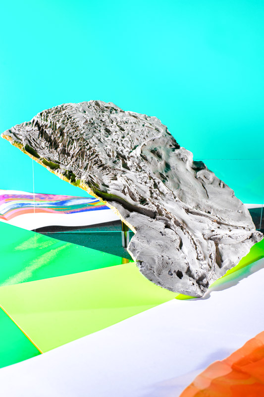 fishart fossil made out of plaster leaning against a green backgroudn Stefano Conti