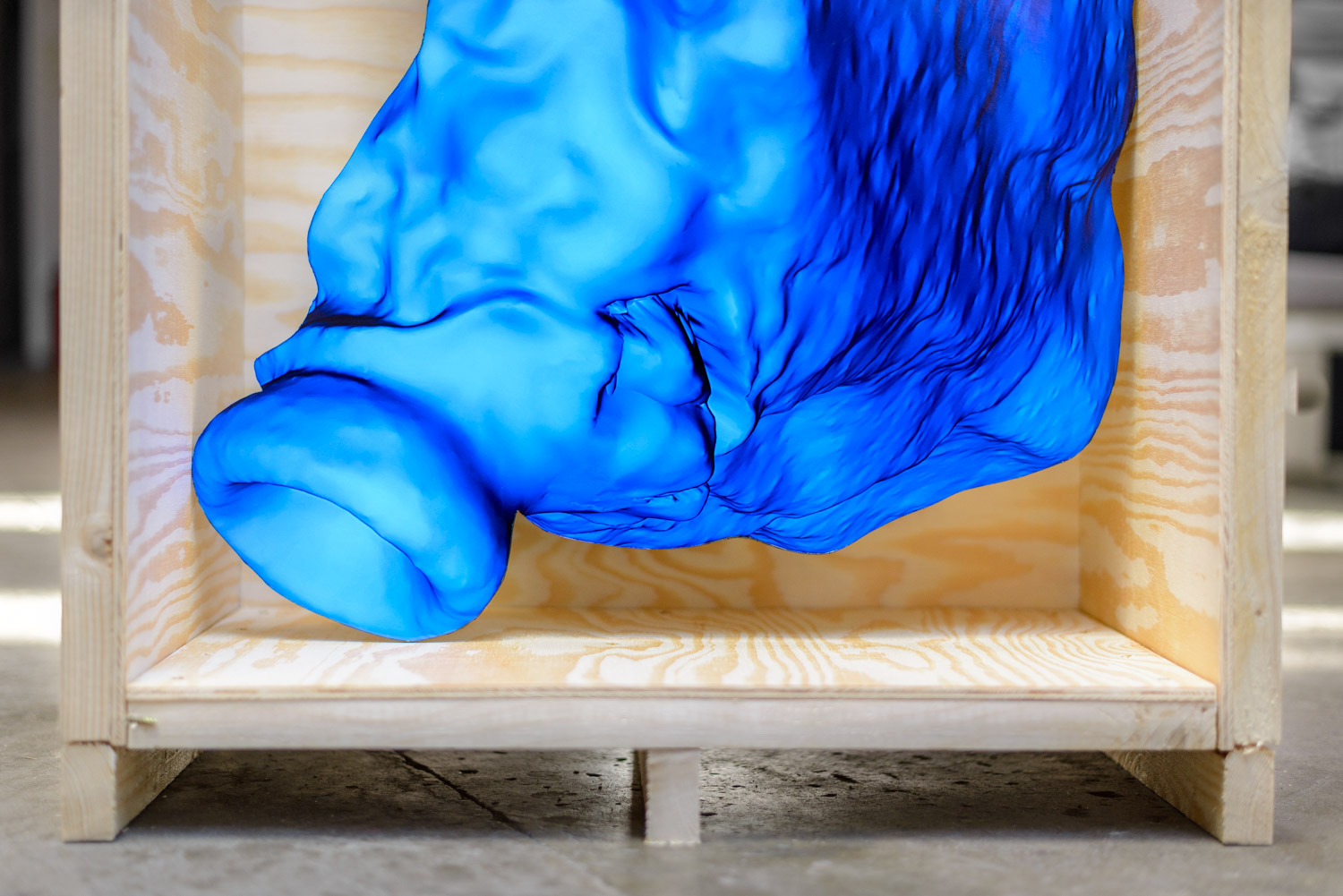 abstract 3d print in a wooden crate by artist Stefano Conti