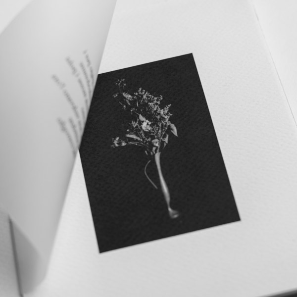 black and white vase printed in a book