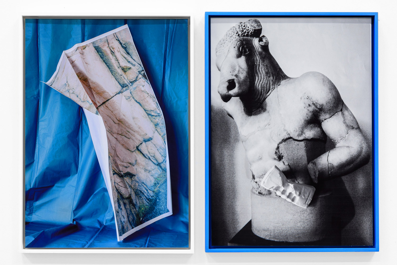 ancient greek statue in a blue frame